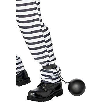 Palla al piede nera con catena da carcerato perfetto per qualsiasi statura