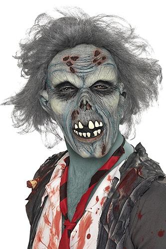 terrificante e realistica maschera da zombie in decomposizione con capelli finti grigi