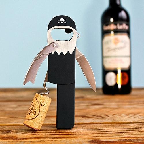 Apribottiglia in acciaio per vino e birra a forma di pirata