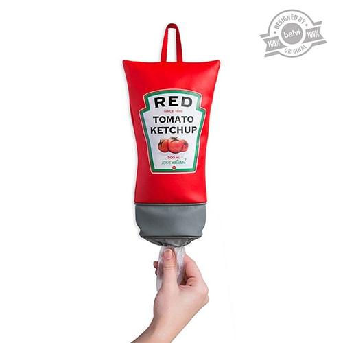 Il dispenser porta sacchetti di plastica a forma di tubetto di ketchup