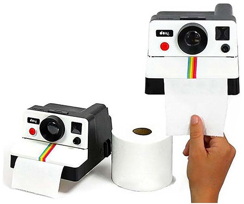 Dispenser porta carta igienica a forma di Polaroid Retrò