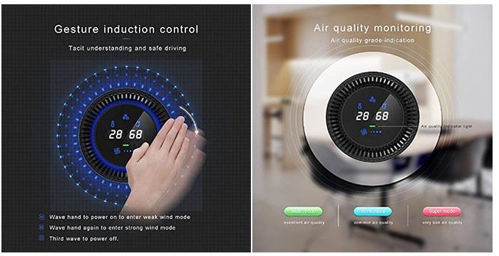 purificatore d'aria portatile anche in auto, trasportabile perfettamente nel porta bicchieri