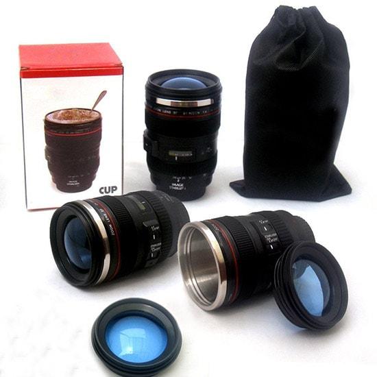 Tazza Cup a forma di obiettivo fotografico Canon